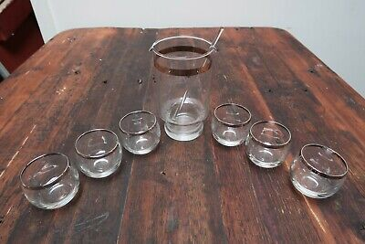 Vintage Clear 6 Round Shot glasses w Silver Rim + Matching Decanter