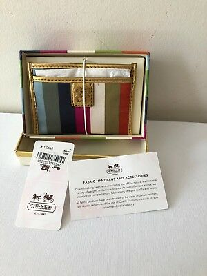 Coach Multicolor Coach Credit Card Holder Id Case Leather And Fabric Nwt Free Sh