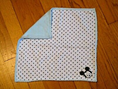 Disney Baby Gray Stars/Blue Cotton Mickey Mouse Security Blanket/Lovey