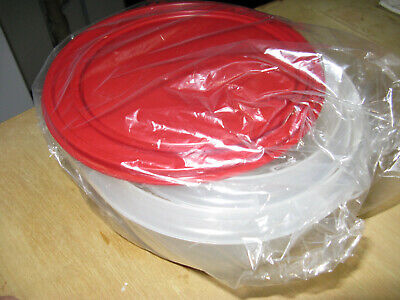 Tupperware Mixing Bowl Set of 2 Classic Sheer with Cherry Seals NEW VINTAGE
