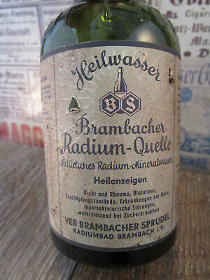 +RARE+ RADIUM Mineral Water / Quack Cure bottle / Brambach with label 50ths