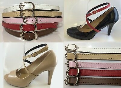 Adjustable Detachable Shoe Straps Tie Band FAUX Leather PU WHITE BEIGE PINK RED