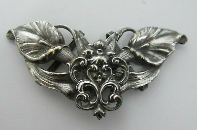 Antique Victorian Art Nouveau Ladies Silver Plated Metal Belt Buckle Calla Lilly