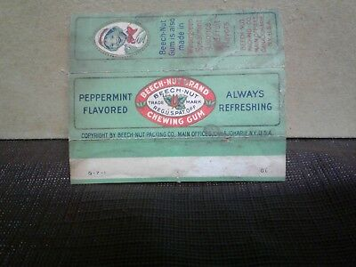 Vtg 1930's American Chewing Gum Wrapper Beech-Nut Peppermint