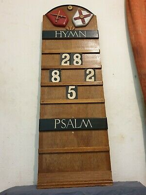 Antique Tall Mahogany Edwardian London Heraldic Carved Hymn Psalm Number Board