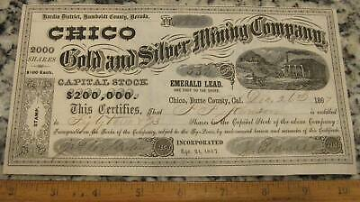 CHICO GOLD & SILVER MINING CO STOCK CERTIFICATE 1867 Humboldt County Nevada