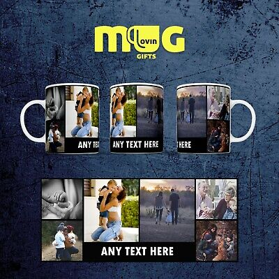 Personalised Photo Mug Cup Gift Custom Text Collage Present Name Christmas P6 +T