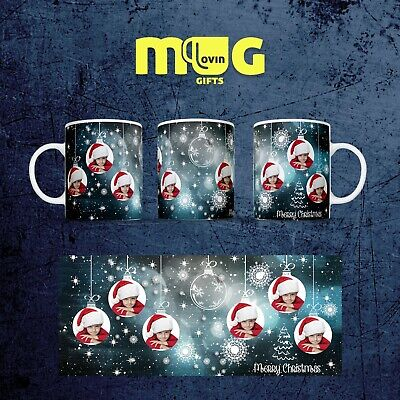 Mug Photo Christmas Personalised Gift Cup Custom Novelty Text Present baubles