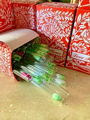 Love Rose Glass Tube With Flower 36pcs( Pack Of 3 Boxes)