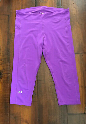 Under Armour Girls Bright Purple Capri Pants In Style Fitted Coupe Youth L
