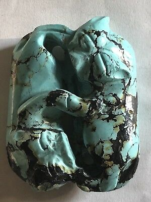 """Vintage Antique Chinese Carved """"Double Cats"""" Natural Turquoise Pendant 2"""" Long."""