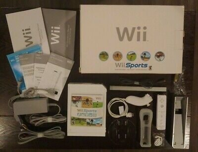 Original Nintendo Wii Sports White Console System Bundle Tested Works Perfectly