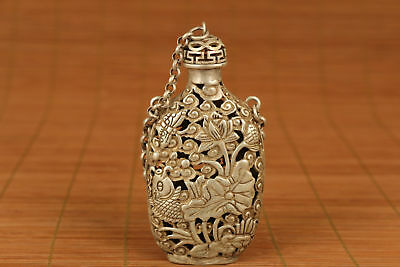 chinese old Tibet Silver Hand Carved Fish Statue Snuff Bottle Netsuke Pendant