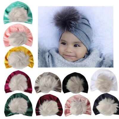 Velvet Baby Girls Boys Bow Turban Hat Toddler Kids Head Wrap Cute Headband-Caps