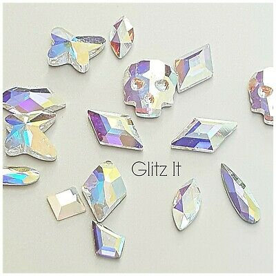 Swarovski AB Crystal Flatback Shapes x 6 PCS: Glue On for Nail Art or Costuming