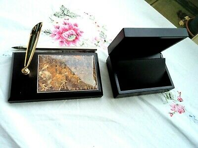 Desk set, Pen stand with matching box for business cards  - Battle scene feature
