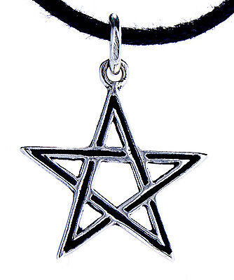 Pentagram 925 Silver Pendant Chain Protective Amulet White Magic Pentakel No. 45