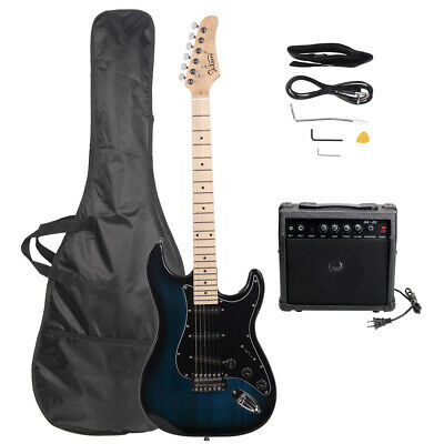 NEW Glarry GST Back Basswood Electric Guitar with Bag & 20W Amp &Strap Dark Blue