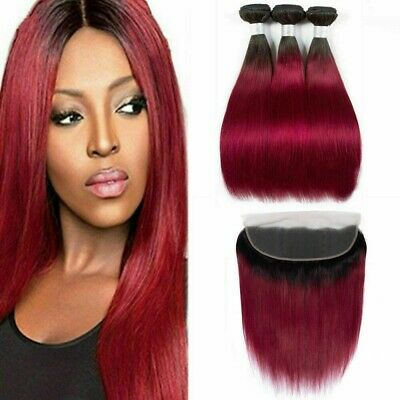 Tissage Bresilien En Lot Avec Closure ombré red human hair bundles with frontale