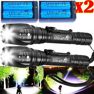 900000LM T6 LED Rechargeable High Power Torch Flashlight Lamps Light & Charger `