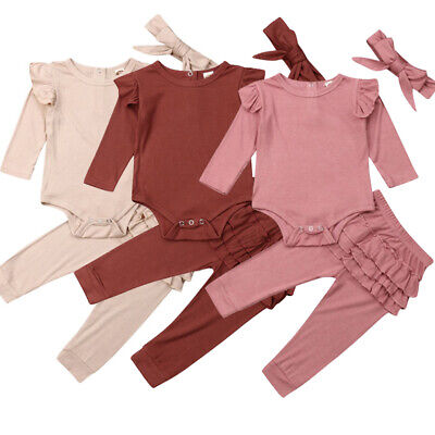 3PCS Baby Girl Newborn Clothes Outfit Romper Ruffle Long Pants Trousers Headband