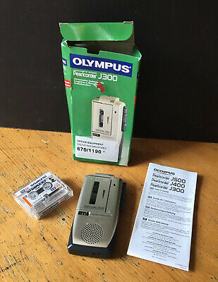 Olympus Microcassette Recorder Pearlcorder J300 Voice Recorder 2 Used Cassettes