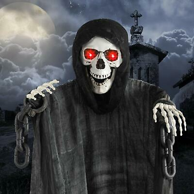 Animated Skeleton Death Ghost Halloween Prop Glowing LED Eyes Hanging Decor