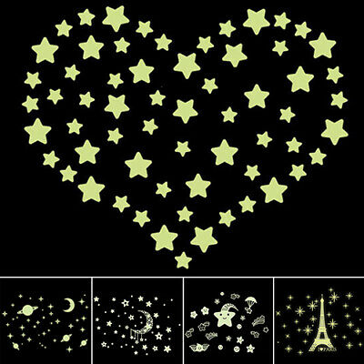 ALS_ BU_ Stars Eiffel Tower Glow in The Dark Wall Stickers Fluorescent Luminous