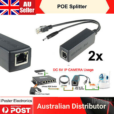 2Pcs Active PoE Splitter Power Over Ethernet 48V to 12V 2.4A Compliant IEEE802.3
