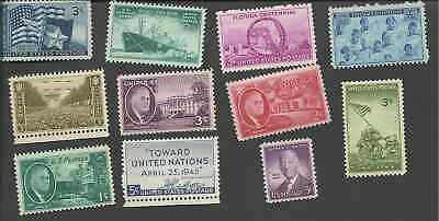 1945 Us Mint Complete Commemorative Year Set 11 Stamps Mnh 927-932 934-938