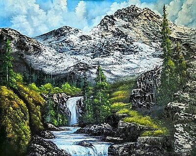 Original Signed Mountain Oil Painting 24x30 Canvas Bob Ross Paint & Technique