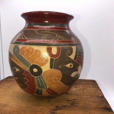 """modern pre columbian mayan style vase, vivid colors, H:5"""" (1 out of 3)"""