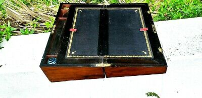 Antique large Walnut Writing slope With  Beautifull grain And Patina    inkwells