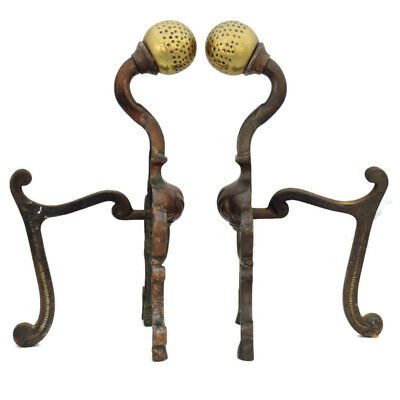Antique French Andirons . Brass & Iron Andirons or Fire Dogs