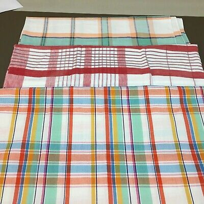 Vtg Lot Of 3 Cotton Blend Tablecloths Plaids Red/Multi/Pastel Cabin Country N27