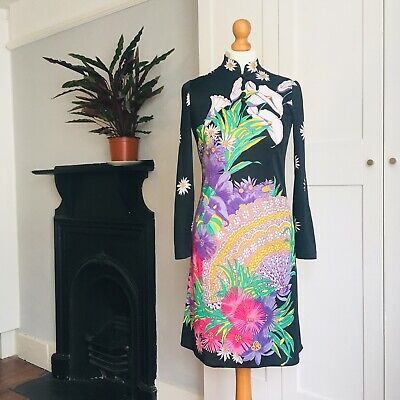 Vtg 70s Black Bright Pink Yellow Purple Floral Fan Print Chinese Collar Dress 10
