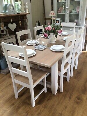Stunning Shabby chic/country style Dining Table And Six Chairs