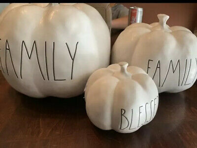 New Rae Dunn FAMILY BLESSED Large, Medium, Small Pumpkin Set