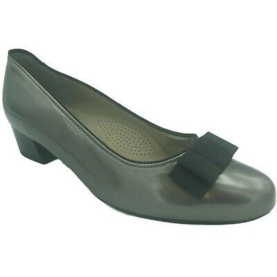 Ara Ladies Womens Slip On Low Heel Pewter Patent Leather Bow Smart Court Heels S