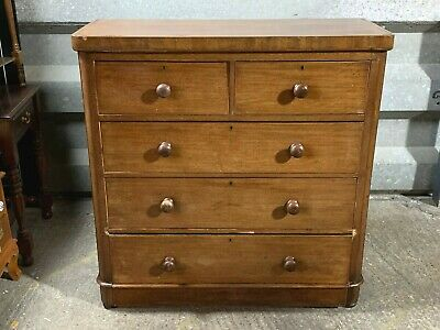 Antique Victorian large mahogany five drawer chest of drawers made by Palco