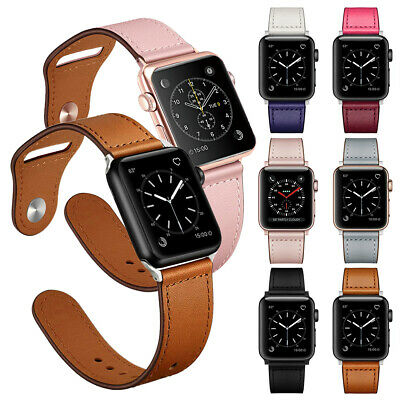 Genuine Leather Band for Apple Watch Bands Series 5 4 3 2 1 40mm 44mm 38mm 42mm