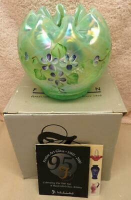 Fenton Rose Bowl Carnival Opalescent Glass Signed A. Farley Flowers in Box