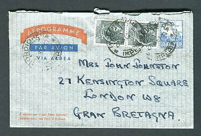 Italy 60L Aerogramme, Air Letter uprated to England