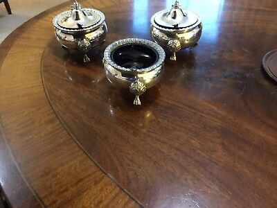 Matching Trio Of Two Lidded Silver Plate Mustard Pots And Salt Cellar C 1930
