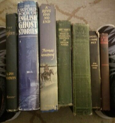 Lot of 7 Vintage Old Antique Books Retro Decor Mixed Genres early thru late1900