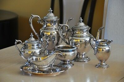 "Beautiful Gorham Antique Silver Plated Coffee/Teapot set - Monogram ""V"" -  7 pc."