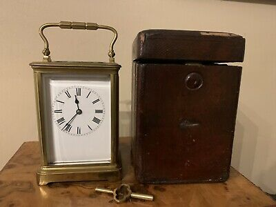 Beautiful Brass 19th Century Carriage Clock Marked SFRA With Leather Case & Key
