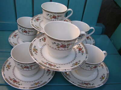 royal doulton 12-PC 1976 KINGSWOOD 6 COFFEE CUPS AND 6 SAUCERS england T.C. 1115