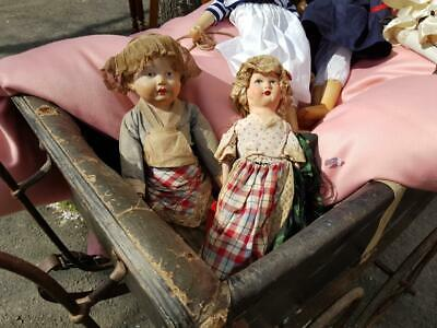 Sweet Inseparable Pair of Antique French Cloth Boudoir Dolls,Hand-painted Faces