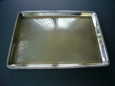 SOLID STERLING SILVER LARGE DRINKS TRAY SALVER C J Fox & Co Ltd LONDON 1920 487g